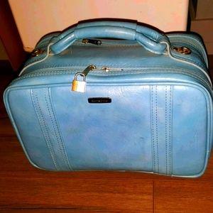"""Vintage travel bag luggage hairtools traincase 15"""""""